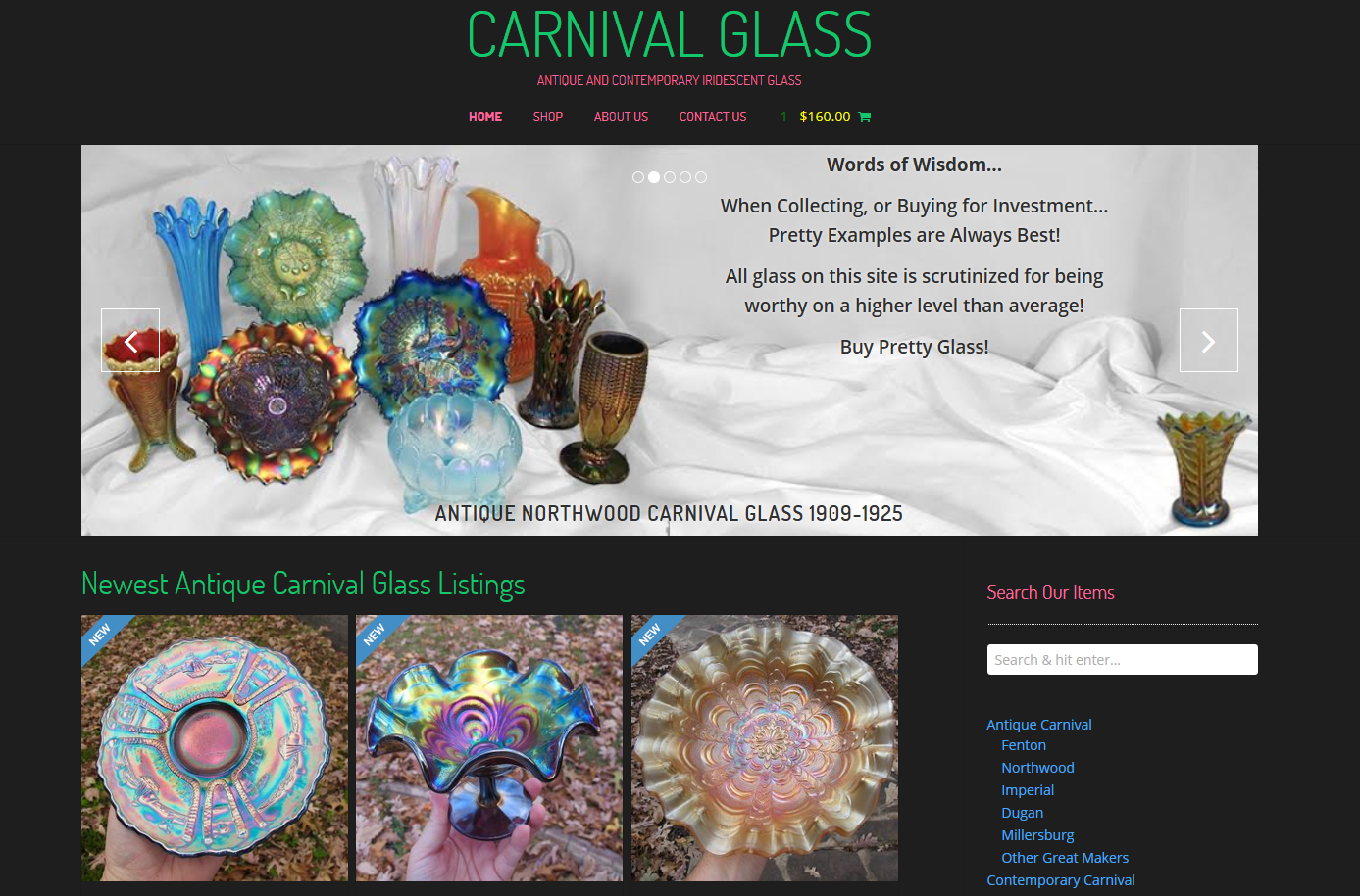 Site Launch: CarnivalGlass.com